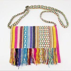 WORLD MARKET Boho Woven Fringe Crossbody Bag